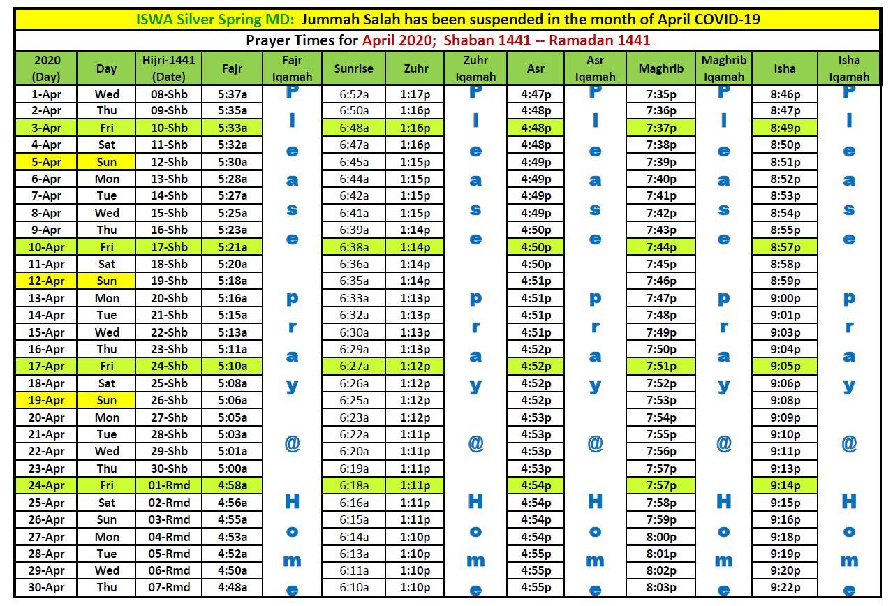April 2020 prayer Schedule