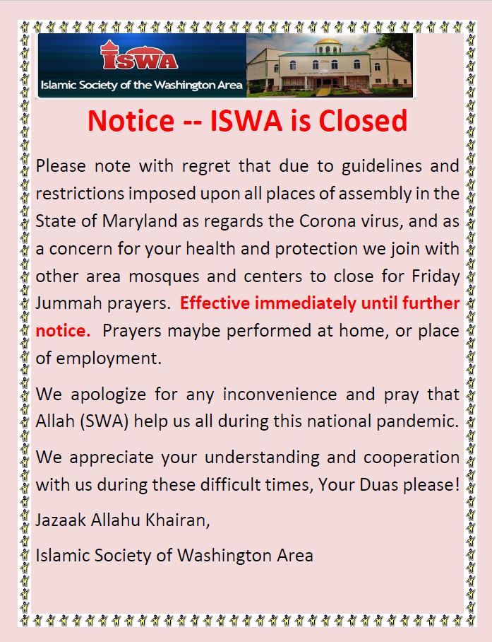 ISWA CLOSED During COVID-19
